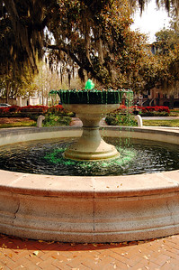 The more astute observer would probably recognize that the water shooting from Savannah's fountains appears green.  Our visit came just a few days before St. Patrick's Day which is a major cause for partying throughout the city.