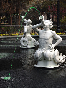 "Surrounding the main fountain in Forsyth Park are several smaller fountains which the tour book labeled ""satellite animal motif fountains,"" but to us bore strong resemblances to the centaurs of Greek mythology."