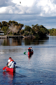 Canoists depart the Flamingo Visitors Center and head down a channel in the Everglades.