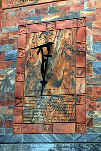 The art deco sundial on the south side of the Tower was set in place on October 26, 1928. The gnomon, which indicates time by casting a shadow on the dial face, is made with a bronze rod supported by a bronze snake - the ancient symbol of time.