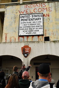 A hand-scrawled message greets visitors stepping off the ferry.  In November 1969, a group of Indians began occupying Alcatraz, hoping to use the island as a symbol of lost native lands.  Their nearly 19-month occupation was one of the most successful American Indian protest actions of the 20th century and sparked the rise of modern Native American activism.