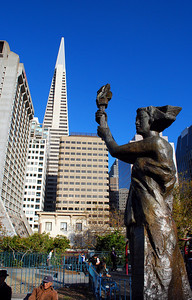 Another view of the Transamerica Pyramid -- this one from Portsmouth Square. On this spot in 1846, Captain John B. Montgomery of the U.S.S. Portsmouth raised the American flag in San Francisco for the first time.