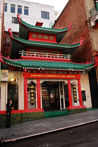 The most distinctive building in San Francisco's Chinatown is the Old Chinese Telephone Exchange (now called the United Commercial Bank), distinguishable by its dramatic peaked roofs and pagoda style. This 1909 building once served as an office for telephone operators who spoke five Chinese dialects and knew their customers' phone numbers by heart.