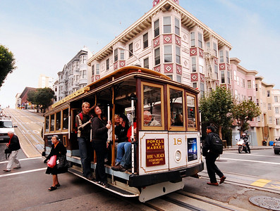 A San Francisco cable car.  The San Francisco cable car system is the world's last permanently operational manually-operated cable car system, having been in place since 1873.