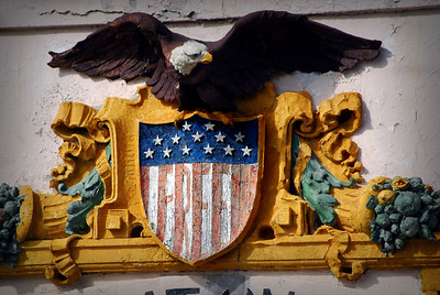"""Another remnant of the occupation – the altered seal above the Administration Building doorway proclaiming Native Americans' desire to be """"Free."""""""