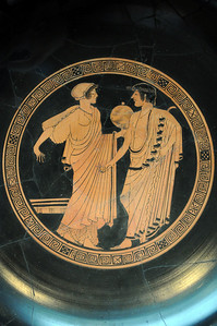 A plate on display in the Getty Villa Museum depicted the Oracle of Delphi dispensing her advice.