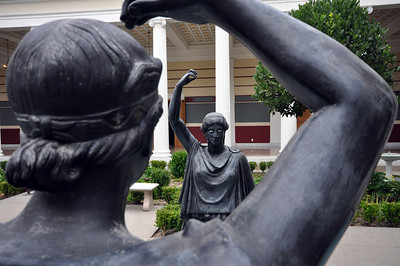 Two of the sculptures in the Getty Villa's Inner Peristyle seem destined to forever stare at each other.