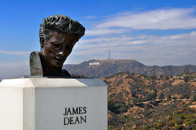 """Yet the sculpture we found most fascinating was that of the actor James Dean just outside the Observatory's main entrance.  Why? The observatory was the location for two important sequences in his 1955 film """"Rebel Without a Cause."""""""