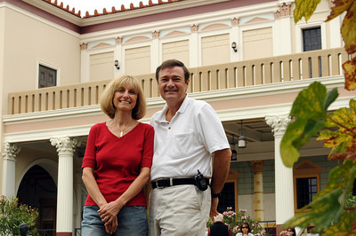 "We thought the Getty Villa's Roman ""country house"" made a classy backdrop for one of our ""We Were There"" photos."