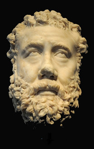 Broken from a statue or bust, this portrait head of a bearded Roman probably depicts a wealthy private individual. It may have been sculpted around A.D. 211 to 217.