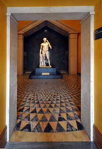 Entering into the Temple of Herakles gallery at the Getty Villa, we found the Lansdowne Herakles, probably sculpted around 125 AD. Found near the ruins of Hadrian's villa at Tivoli outside Rome, the statue was named for Lord Lansdowne, who once owned and displayed it in his home in London.