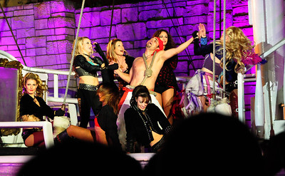 """Another of Las Vegas' """"sidewalk"""" attractions is the nightly performance of """"The Sirens of TI,"""" a 20-minute show set on the outdoor pirate ship outside the Treasure Island Hotel."""