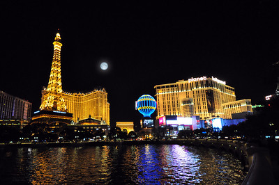 The Paris Hotel & Casino along with its Planet Hollywood neighbor were especially dazzling in the evening, almost outshining a brilliant full moon.