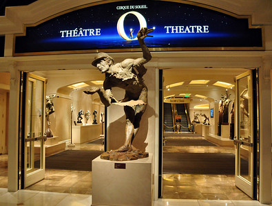 """We spent one evening at the Bellagio theater enjoying """"O,"""" Cirque du Soleil's """"aquatic tapestry of artistry, surrealism, and theatrical romance"""" (no performance photos were allowed)."""