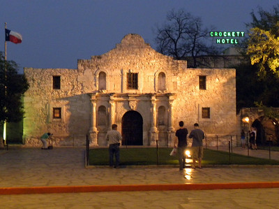 He did, however, not only get his statue in front of the Alamo, but also his name on the hotel behind it.