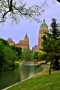 The view back toward downtown San Antonio.  Our hotel  – the Drury Plaza  – is the middle building.