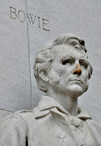 Jim Bowie -- inventor of the famed Bowie knife -- was the commander of the local militia inside the Alamo until illness (probably tuberculosis) rendered him bedridden on the eve of the battle.  (His statue also seems to be less than healthy.)