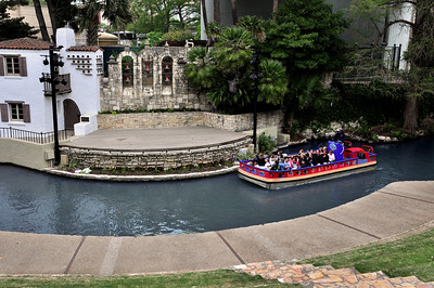 Just around one of its bends, River Walk eases into a more serene environment.  The five bells in the wall stand for the five Spanish missions built in and around San Antonio in the 1700s.
