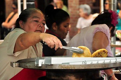 "Market Square served as a marketplace for produce and other foods, including chili --- made and served by women known as ""Chili Queens"" --- beginning in the mid 1800s.  When we visited, the main fare was deep fried tortillas."