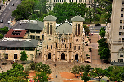 The San Fernando Cathedral served as General Santa Anna's headquarters during his 1836 siege of the Alamo.  It was from this church that Santa Anna raised the red flag warning of his intent to take no prisoners....