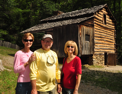 "Martha, Steve and Jeanne in front of Elijah Oliver's cabin.  You would think that Elijah would have been a might suspicious of visitors approaching his homestead given his Civil War experience.  But on one side of his cabin he built a ""stranger's room"" to accommodate ""out of town guests"" who might wander by."