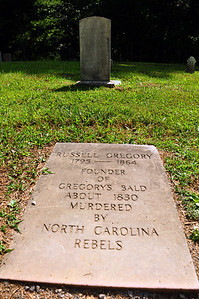 "A few feet away from the Oliver gravesite is this headstone, with an epitaph that clearly reflects the harsh feelings of the Civil War.  In 1863, Confederate ""bushwhackers"" from North Carolina had begun systematic raids into Cades Cove, stealing livestock and killing any Union supporter they could find."
