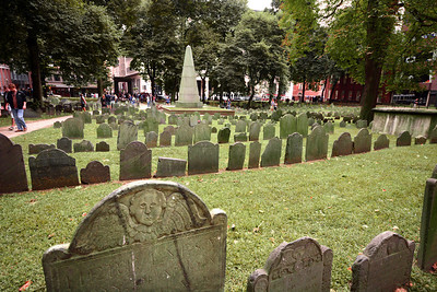 """Many headstones date back to before the Revolutionary War. But few, if any, mark the actual grave site of the person memorialized. It was common in the 1800s to """"repurpose"""" old graveyards into urban parks. Headstones were dug up and repositioned in orderly rows to provide pathways for local residents to have a pleasant, if perhaps eerie, stroll through the """"park."""""""