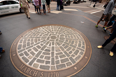 It was outside the Old State House that the Boston Massacre took place on March 5, 1770, one of the inflammatory events that led to the American Revolution.  Today a bronze plaque embedded in the sidewalk shows where the five colonist-protestors were when they were shot by British soldiers.