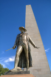 """""""Don't fire until you see the whites of their eyes"""" -- the legendary order attributed to Col. William Prescott as the British marched up Breed's Hill in the American Revolution's first major battle.  His statue now stands alongside the hilltop obelisk."""