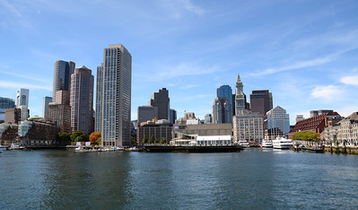 A much clearer view of the Boston skyline could be seen during a ferry trip across Boston Harbor.