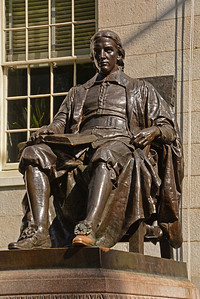 """(1) It isn't really a likeness of John Harvard, since no living representations of John Harvard existed at the time the statue was sculpted (a man named Sherman Hoar sat as a model for the head), (2) although the statue's engraving calls him the university's """"founder,"""" he wasn't.  Actually, Harvard didn't even attend the college. He was, however, the first major benefactor to the University, donating half of his estate and his library; and (3) Harvard wasn't founded in 1638 as the inscription states, but in 1636."""