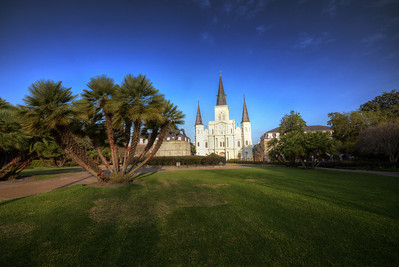 """Jackson Square, originally known in the 18th century as """"Place d'Armes,"""" was later renamed in honor of the Battle of New Orleans hero Andrew Jackson.  It was declared a National Historic Landmark in 1960, and in 2012 the American Planning Association designated it as one of America's Great Public Spaces."""