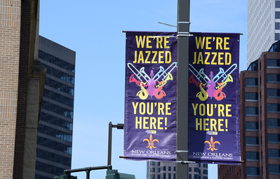 """A welcoming sign in the city that bills itself the """"home of jazz."""""""