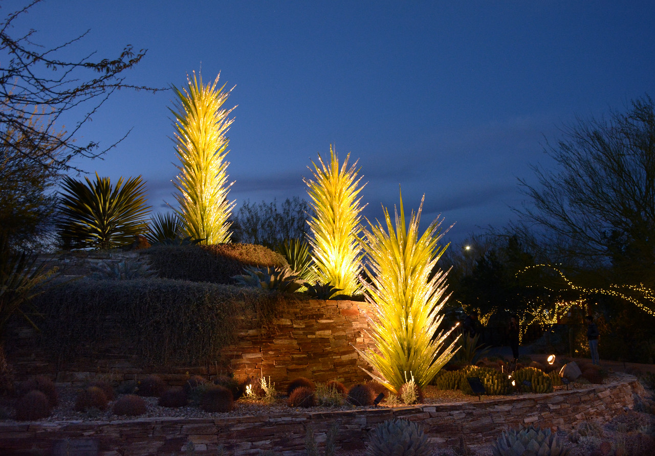 ...and as you exit in the evening, the  Chihuly sculptures sparkle.