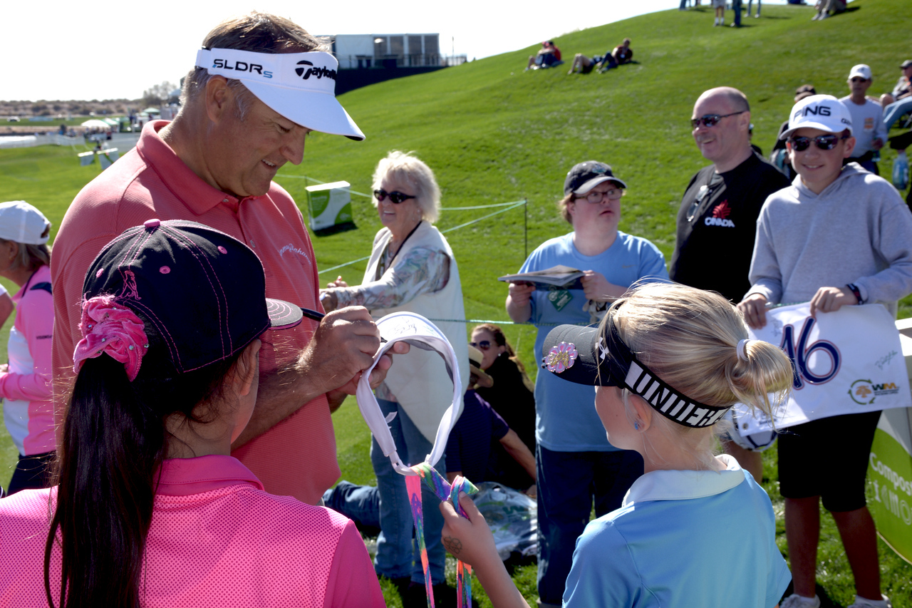 One of the great things about most professional golfers is their willingness to take time to sign autographs for young admirers...