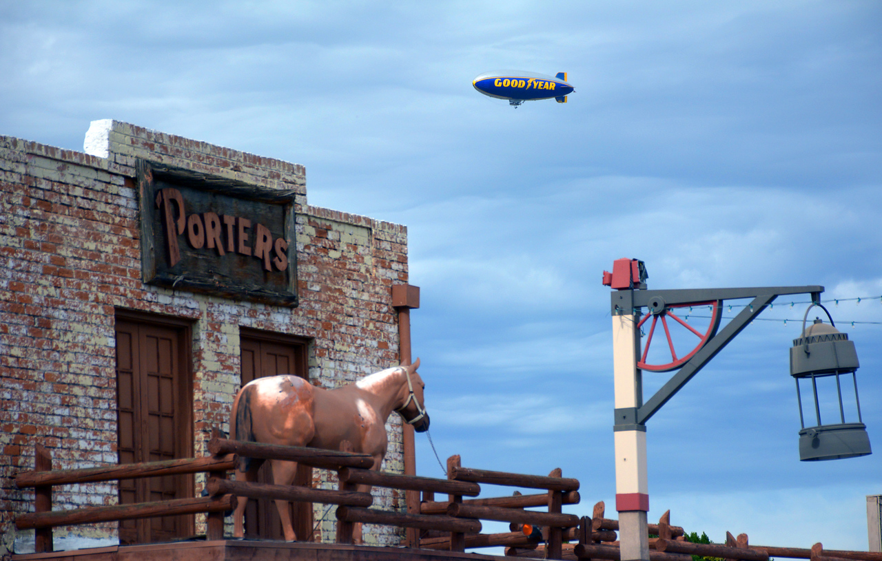 "We spied the Goodyear Blimp arriving for the upcoming Super Bowl, cruising over a local bar and restaurant with the catchy name of ""Porter's."""