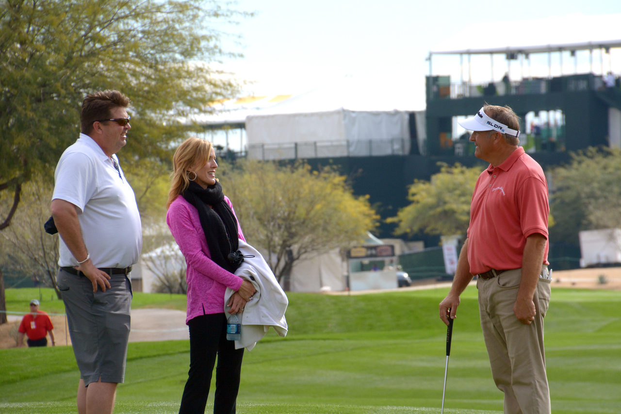 During the practice round, Ken met up with an old college friend from Henderson State, Art Thompson, along with Art's wife Martha.