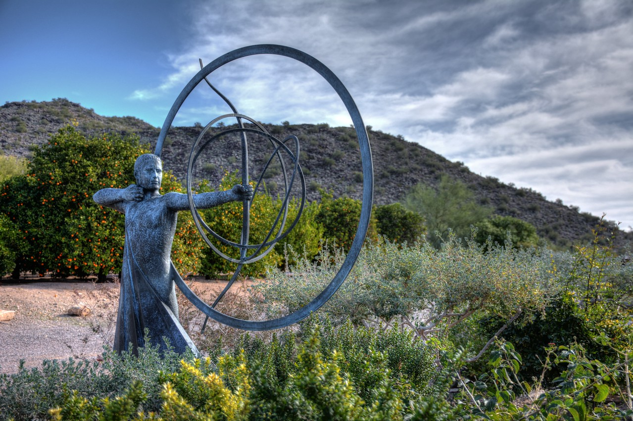Interspersed in the desert vegetation throughout the grounds of Taliesin West are a variety of sculptures.