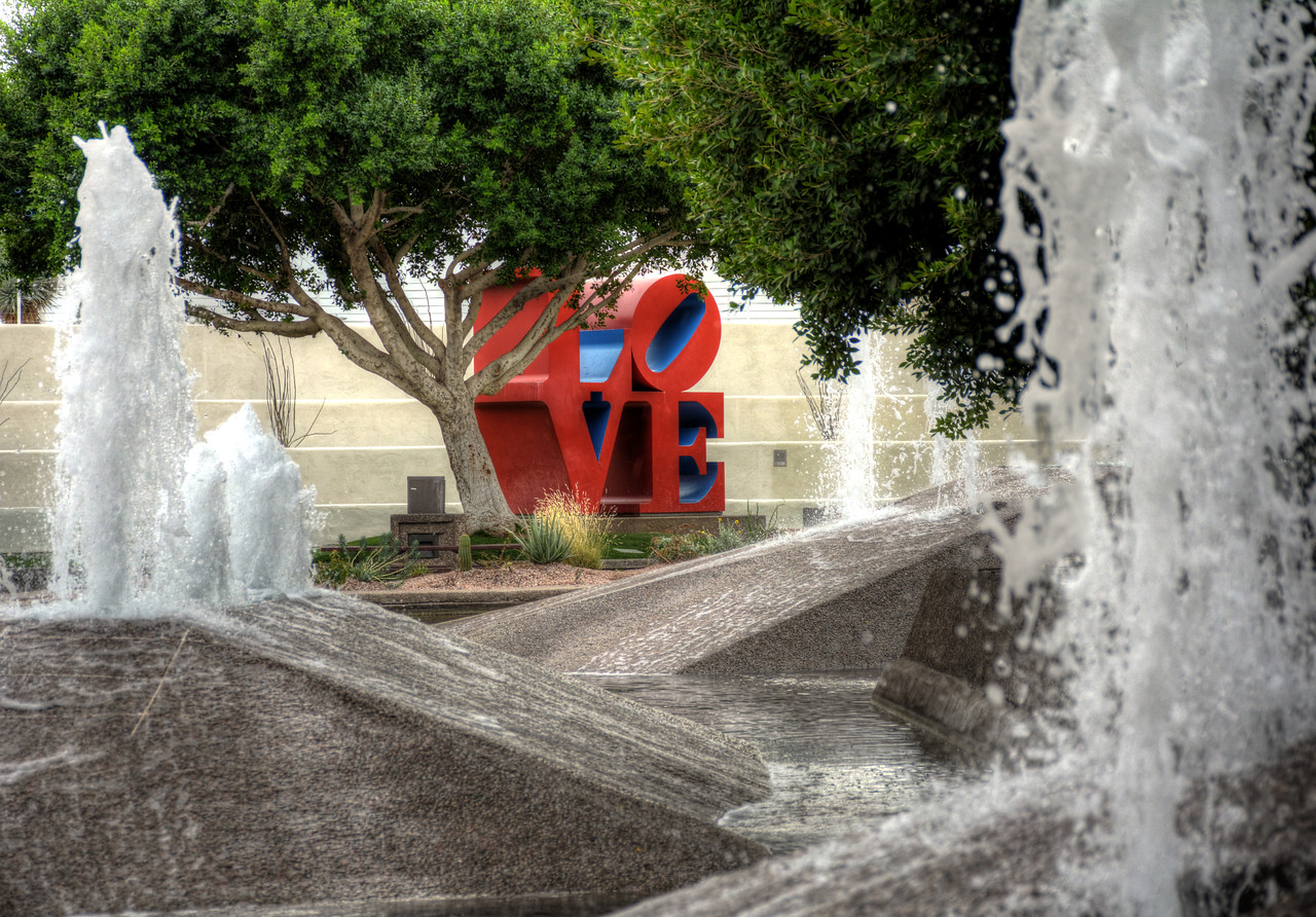 Robert Indiana's Love sculpture in Scottsdale's Civic Center Mall is one of the most celebrated works within the pop art movement.
