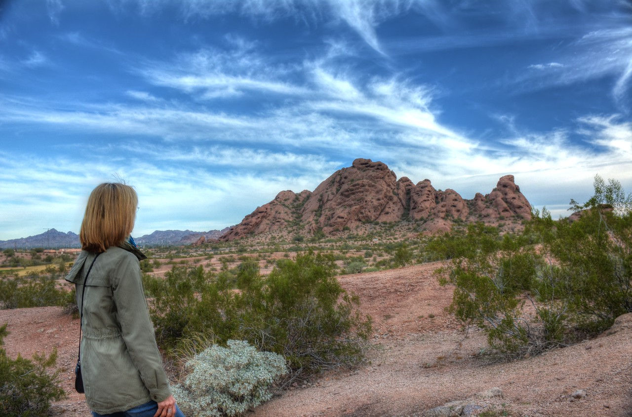 We devoted one day -- actually one morning -- of our trip to hiking in the hill country around Phoenix.  Here we begin our trek to the distinctive red sandstone geological formations of Papago Park.