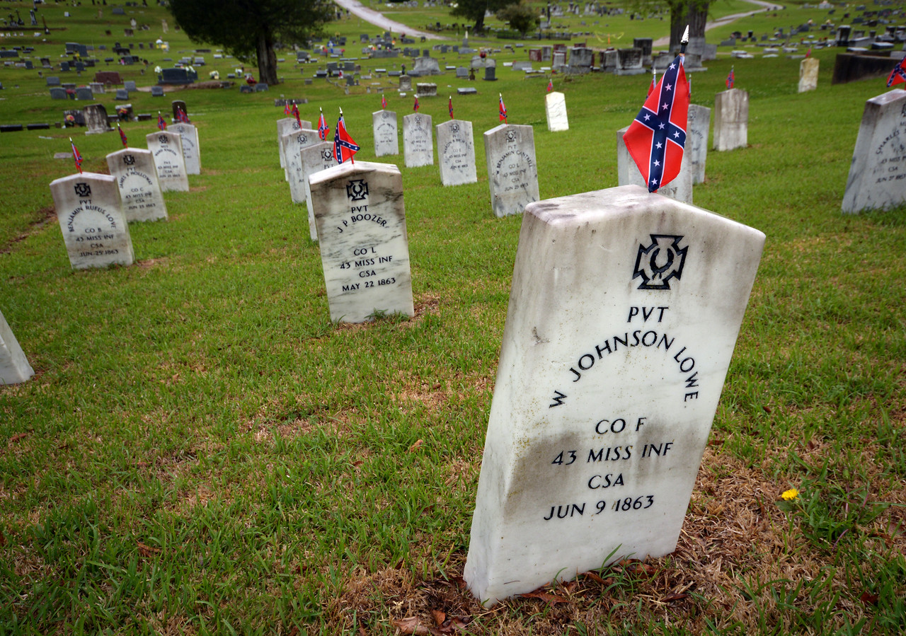 Confederate dead from the Vicksburg siege - more than 5000 - are buried in the Soldiers Rest section of Vicksburg's Cedar Hill cemetery.
