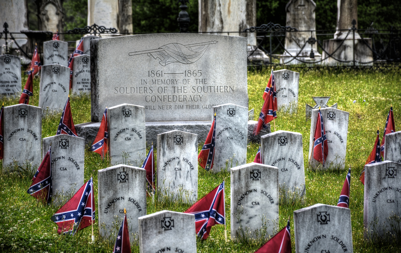 Not unexpectedly, nearly every cemetery we visited had a large section for Confederate soldiers. What was interesting, however, is that nearly every Confederate grave marker had a newly-placed Confederate flag next to it.