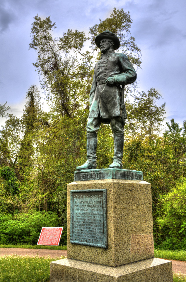 In contrast to Grant's heroic pose atop his horse, the statue of General John C. Pemberton - the Confederate general who surrendered Vicksburg - is much less grandiose.