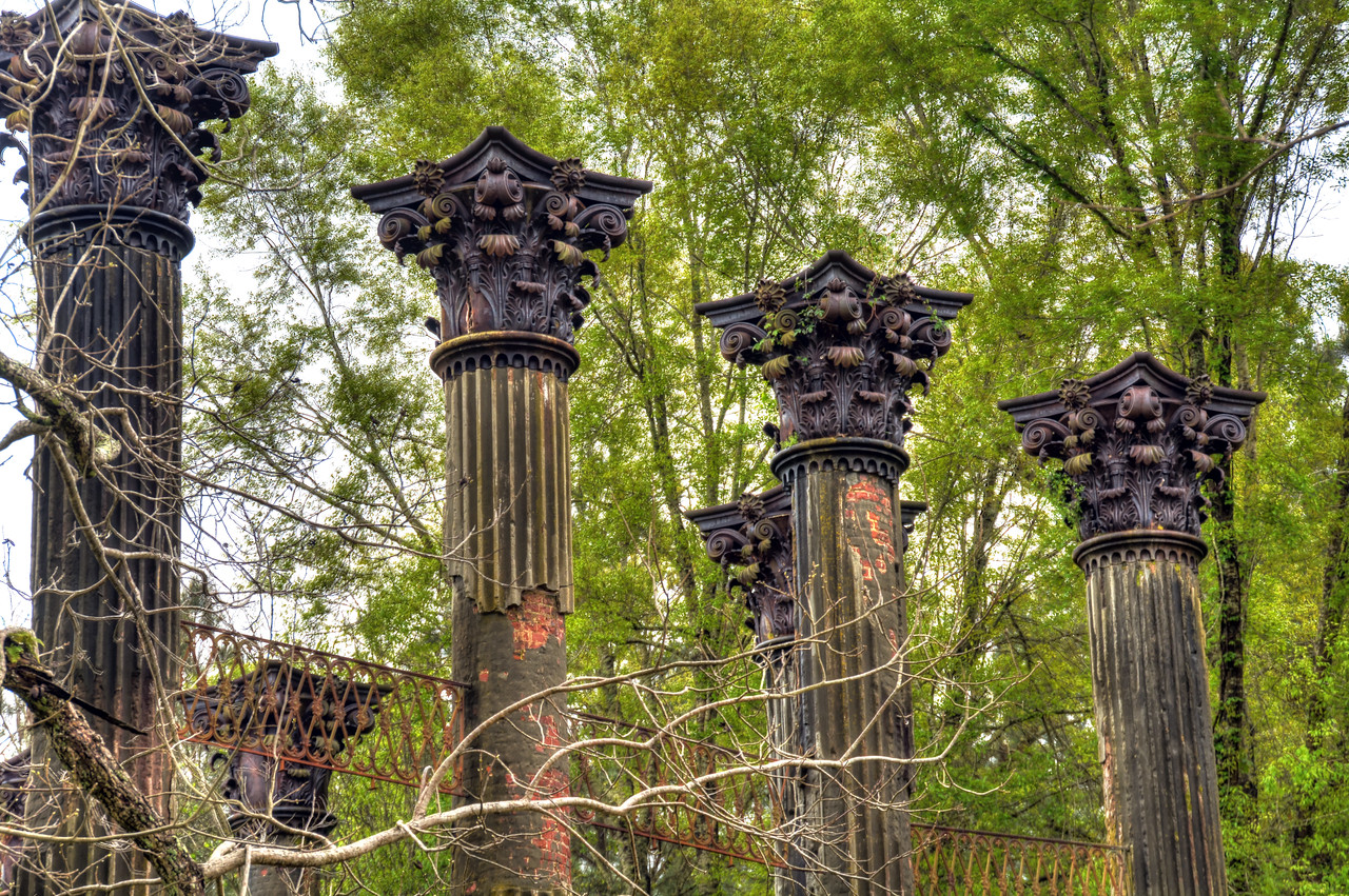 Today all that remains are 23 blackened columns.