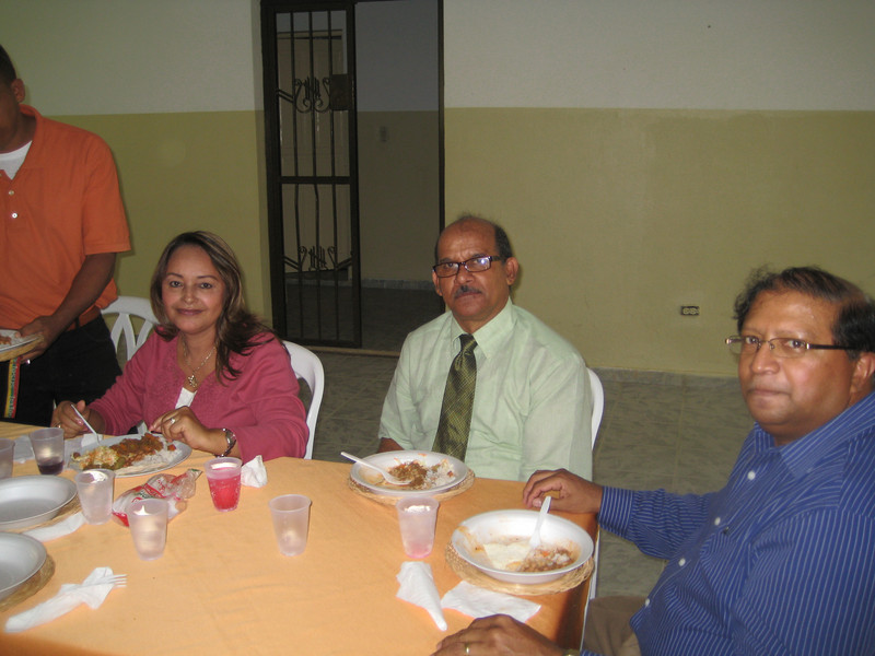 In the church basement: Rosa & Benito Martinez (our hosts) & Ricardo Sammy (Dad) - at a lunch held in our honor after church service<br /> <br /> Abajo de la iglesa: Rosa & Benito Martinez y Ricardo Sammy - un almuerzo en nosotros honor