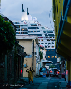 Cruise ship docked at Roseau