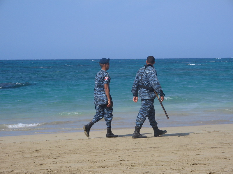 Guards walking the beach over Easter weekend