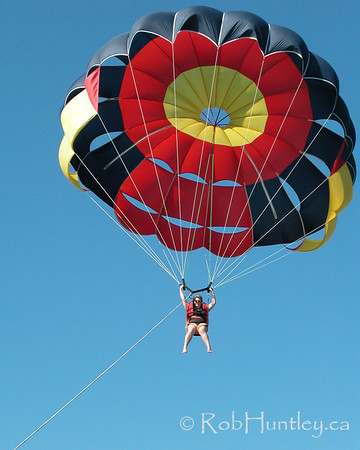 Woman parasailing at Punta Cana, Dominican Republic.