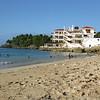 The public beach at Rio San Juan, where the Bahía Blanca hotel sits.