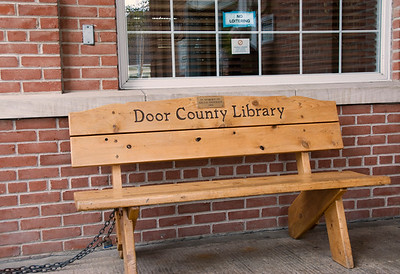 A bench just outside the front door of the Door County Library in Sturgeon Bay, Wisconsin.